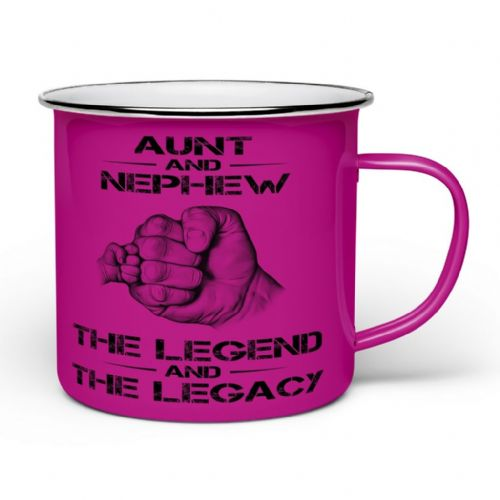 The Legend And The Legacy Novelty Enamel Tin Gift Mug - Pink